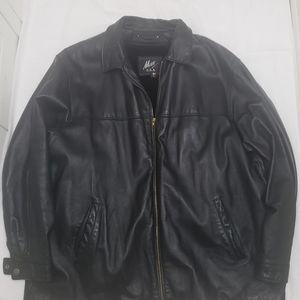 Max USA Mens Black Leather Jacket with Vest inside